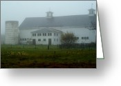 Weathervane Greeting Cards - Misty Fall Morning at the Farm Greeting Card by Lois Lepisto