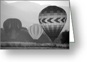 Balloon Fest Greeting Cards - Misty Landings in Montone Greeting Card by Kathleen Stephens