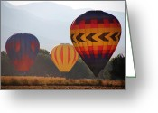 Balloon Fest Greeting Cards - Misty Landings Greeting Card by Kathleen Stephens