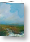 Landscape Posters Painting Greeting Cards - Misty Marsh Greeting Card by Michele Hollister - for Nancy Asbell