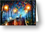 Landscape Greeting Cards - Misty Mood Greeting Card by Leonid Afremov