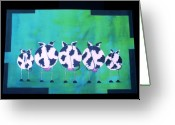 Cow Tapestries - Textiles Greeting Cards - Misty Mooning Greeting Card by Laurie Alpert