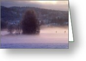 Snowscape Greeting Cards - Misty morning 2 Greeting Card by Gun Legler