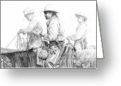 Cowboy Sketches Greeting Cards - Misty Morning Greeting Card by Jack Schilder