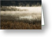 Kamloops Greeting Cards - Misty Morning Greeting Card by Peter Olsen