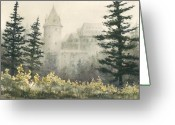 Castle Painting Greeting Cards - Misty Morning Greeting Card by Sam Sidders