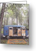 Campervan Greeting Cards - misty Morning Greeting Card by Sharon Poulton