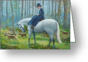 Side Saddle Greeting Cards - Misty Morning Greeting Card by Tomas OMaoldomhnaigh