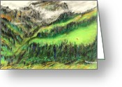 Lanscape Pastels Greeting Cards - Misty Mountains in Valens Switzerland Greeting Card by Mike Gundlach