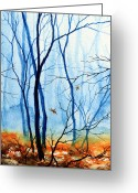 Polyptych Greeting Cards - Misty Woods - 2 Greeting Card by Hanne Lore Koehler