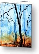 Polyptych Greeting Cards - Misty Woods - 3 Greeting Card by Hanne Lore Koehler