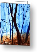 Polyptych Greeting Cards - Misty Woods - 4 Greeting Card by Hanne Lore Koehler