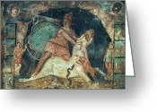 Fresco Greeting Cards - Mithras Killing The Bull Greeting Card by Granger