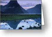 Puddle Photo Greeting Cards - Mitre Peak Greeting Card by Atan Chua