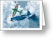 Military Artwork Greeting Cards - Mitsubishi Zero and Vought F4-U Corsair Greeting Card by Larry McManus