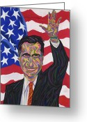 Barrack Obama Greeting Cards - Mitt Romney 2012 Greeting Card by Robert  SORENSEN