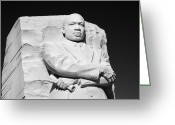 Martin Luther King Greeting Cards - MLK Memorial - black and white Greeting Card by Brendan Reals
