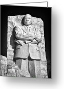Martin Luther King Greeting Cards - MLK Memorial in Black and White Greeting Card by Val Black Russian Tourchin