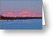 Snowy Greeting Cards - Mnt McKinley Rising Greeting Card by Ed Boudreau