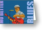 Musicians Digital Art Greeting Cards - Mo Better Blues Greeting Card by Joe Roache