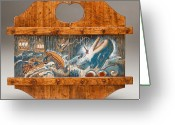 Woodworking Art Greeting Cards - Moby Dick Greeting Card by James Neill