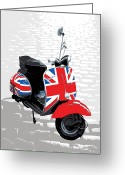 White Greeting Cards - Mod Scooter Pop Art Greeting Card by Michael Tompsett