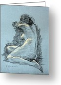 Figure Drawing Greeting Cards - Model Resting Greeting Card by Ethel Vrana