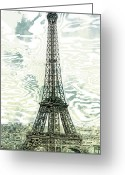 Digital-panorama Greeting Cards - Modern-Art EIFFEL TOWER 12 Greeting Card by Melanie Viola