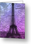 Digital-panorama Greeting Cards - Modern-Art EIFFEL TOWER 14 Greeting Card by Melanie Viola