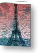 Digital-panorama Greeting Cards - Modern-Art EIFFEL TOWER 17 Greeting Card by Melanie Viola