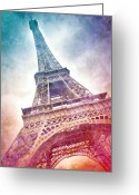 Eiffel Tower Greeting Cards - Modern-Art EIFFEL TOWER 21 Greeting Card by Melanie Viola