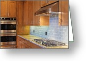 Cupboards Greeting Cards - Modern Kitchen Interior Greeting Card by Jeremy Woodhouse