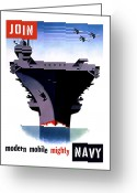 Vintage Mixed Media Greeting Cards - Modern Mobile Mighty Navy Greeting Card by War Is Hell Store