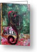 Anahi Decanio Mixed Media Greeting Cards - Modern PATINA Abstract Greeting Card by Anahi DeCanio