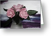 Purples Greeting Cards - Modern Roses Greeting Card by Marsha Heiken