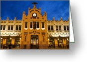 Large Clock Greeting Cards - Modernista Facade Of Estacion Del Norte (north Train Station), Valencia, Spain, Europe Greeting Card by Greg Elms
