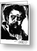 Cyrillic Greeting Cards - Modest Mussorgsky Greeting Card by Granger