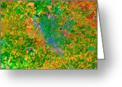 Birds Eye View Greeting Cards - Modesto California USA - Abstract - Painterly Greeting Card by Wingsdomain Art and Photography