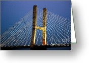 Mississippi River Scene Greeting Cards - Modified Suspension at Night Greeting Card by Alan Look