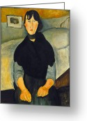 Modigliani Greeting Cards - Modigliani: Woman, 1918 Greeting Card by Granger
