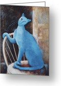 Modigliani Greeting Cards - Modiglianis Cat Greeting Card by Eve Riser Roberts