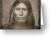 Vintage Map Digital Art Greeting Cards - Modoc Indian Captain Jack Greeting Card by Cindy Wright