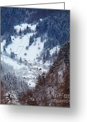 Colour Image Greeting Cards - Moeciu village in winter Greeting Card by Gabriela Insuratelu