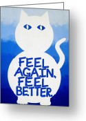 Great Painting Greeting Cards - Mogadon Mog Greeting Card by Oliver Johnston