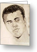 Championship Drawings Greeting Cards - Mohammad Ali Greeting Card by Donald William