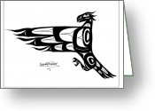 Pole Drawings Greeting Cards - Mohawk Eagle black Greeting Card by Speakthunder Berry