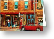 Resto Cafes Greeting Cards - Moishes Steakhouse On The Main By Montreal Streetscene Painter Carole  Spandau  Greeting Card by Carole Spandau