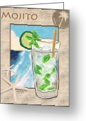 Caribbean Art Pastels Greeting Cards - Mojito Greeting Card by William Depaula