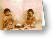 Melon Greeting Cards - Moki Melon Eaters Greeting Card by Padre Art