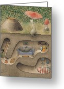 Underground Greeting Cards - Mole Greeting Card by Kestutis Kasparavicius